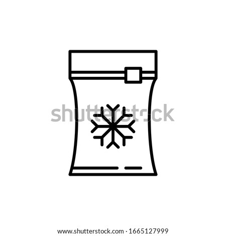 Vector frozen food bag icon outline. Symbol linear illustration of packaging for frozen and vacuumed food. Containers and bags for food semi-finished products frozen.