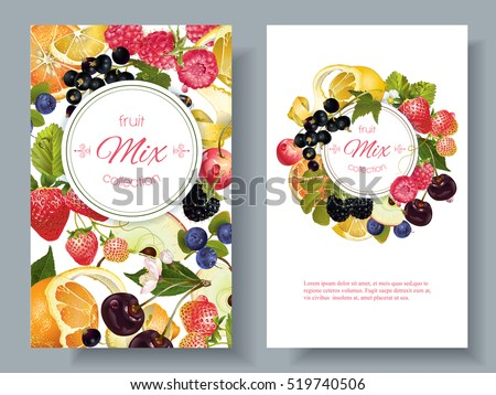 vector fruit and berry banners