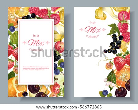 vector fruit and berry vertical