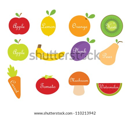 Vector fruit and vegetables