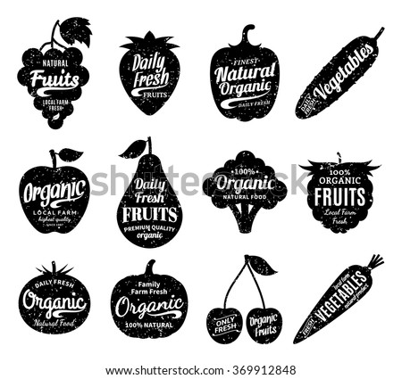 Vector fruit and vegetables logo