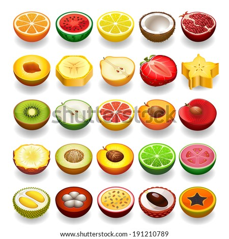 Vector fruit icon set Perspective