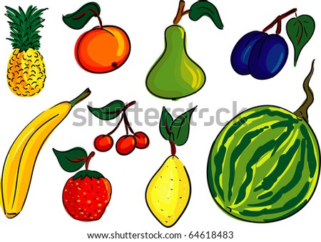 vector - fruit set , isolated on background