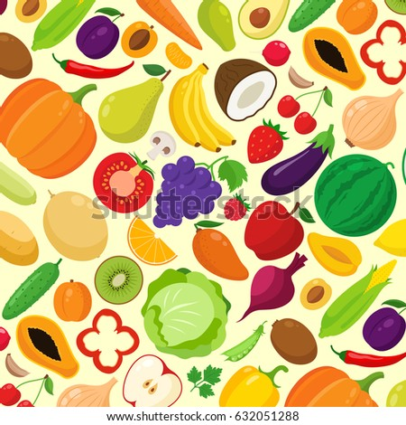Vector fruits and vegetables background. Fruits and vegetables icons for agriculture stores, groceries, package and advertising