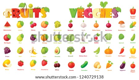 Vector fruits and vegetables icon set. Includes apples, grapes, banana, watermelon, plum, orange, pear with strawberry and other icons