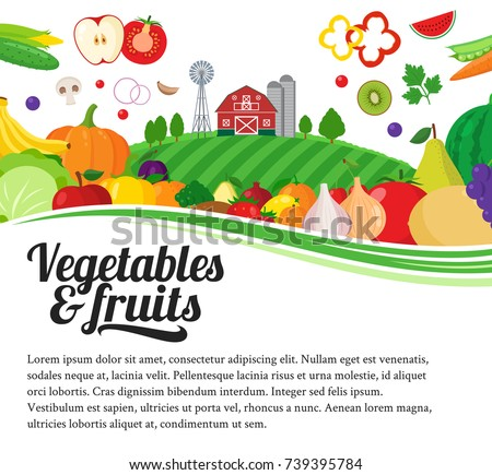Vector fruits and vegetables illustration. Fruits and vegetables icons and design elements for groceries, agriculture stores, packaging, menu and advertising