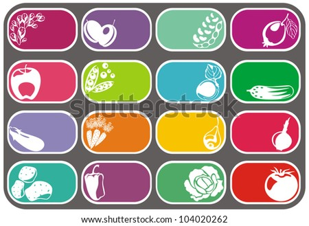 vector fruits and vegetables vector labels set