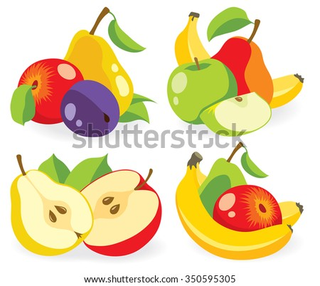Vector fruits. Cut apples, pears, banana and plums (baby food ingredients) on white background, collection of vector illustrations