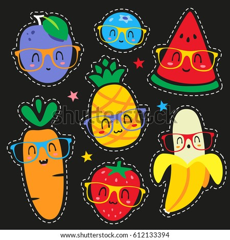 vector fruits in glasses