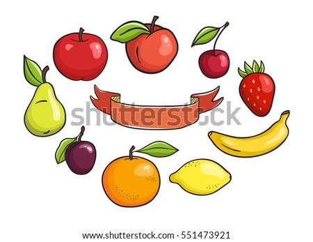 vector fruits set and ribbon