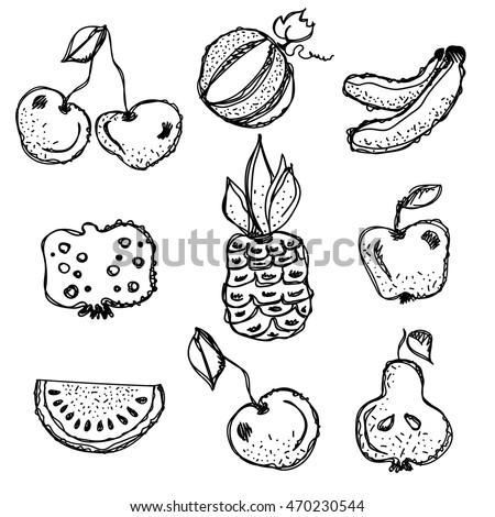 vector fruits set hand drawn