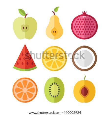 vector fruits slices set