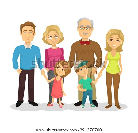 vector full family flat cartoon