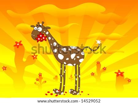 Vector fun cartoon giraffe in sunset desert, holiday background.