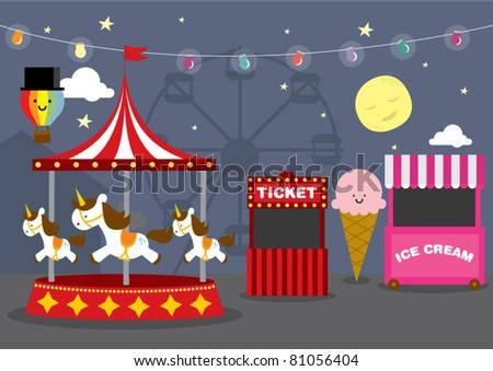 vector fun fair night