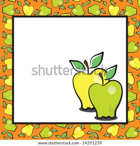 Vector fun fruits page layout, yellow and green apples.