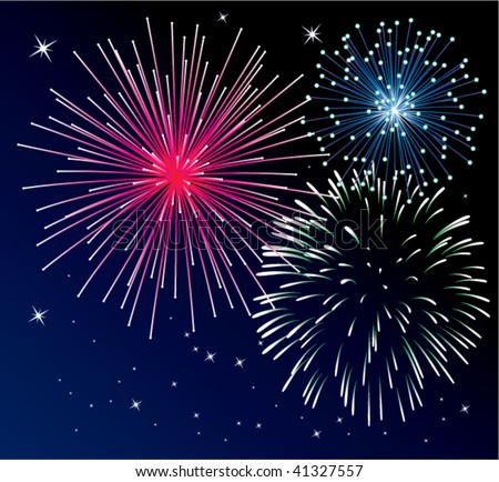 vector fun new year fireworks background in dark blue sky