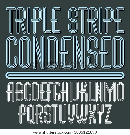 Vector funky capital English alphabet letters collection. Cool condensed font, script from a to z can be used in poster art. Made with triple stripy decoration.