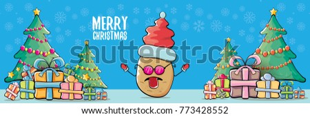 vector funky cartoon smiling santa claus potato with red santa hat and calligraphic christmas text on horizontal blue background with cristmas tree and gift boxes. vegetable funky christmas character #773428552