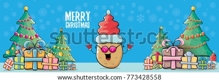 vector funky cartoon smiling santa claus potato with red santa hat and calligraphic christmas text on horizontal blue background with cristmas tree and gift boxes. vegetable funky christmas character #773428558