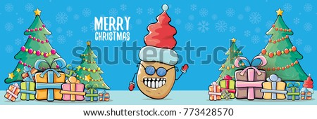vector funky cartoon smiling santa claus potato with red santa hat and calligraphic christmas text on horizontal blue background with cristmas tree and gift boxes. vegetable funky christmas character - Shutterstock ID 773428570