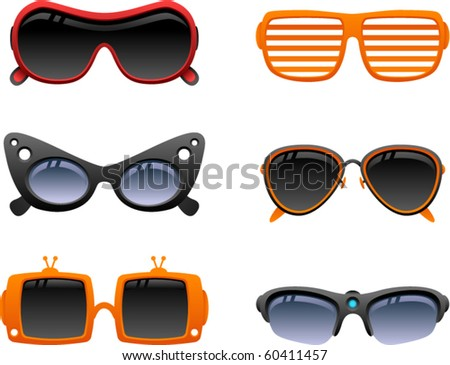vector funky sunglasses icons set 2