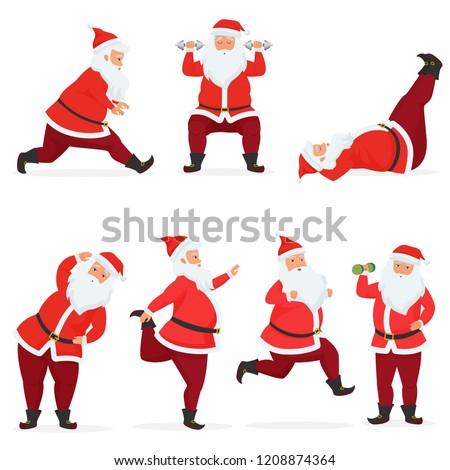 vector funny and cute santa