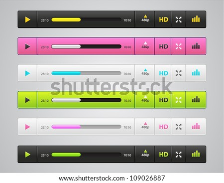 Vector funny audio players in different colors - stock vector