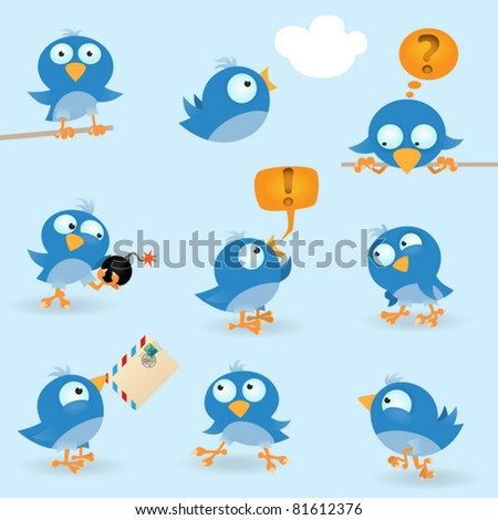 vector funny birds icon set
