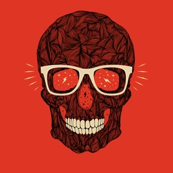 vector funny, candy, black skull with glasses and teeth on red background