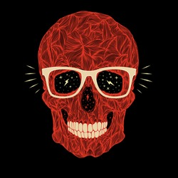 vector funny, candy, red skull with glasses and teeth on black background