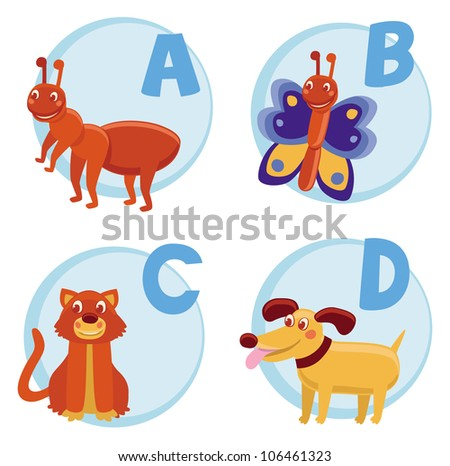 Vector funny cartoon alphabet for children - Ant, Butterfly, Cat, Dog ...