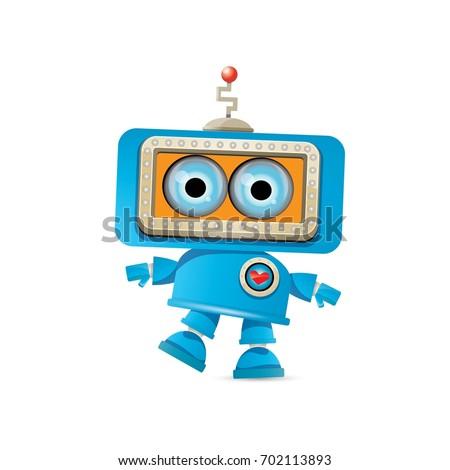 vector funny cartoon blue robot