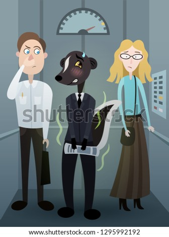 Vector funny cartoon caricature with bad smelling man like a skunk in elevator
