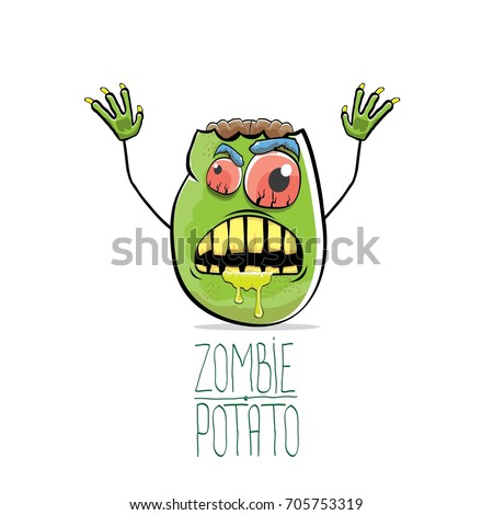 Stock Photo vector funny cartoon cute green zombie potato isolated on white background. My name is zombie potato vector concept halloween background. monster vegetable funky character