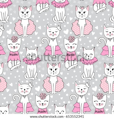 vector funny cat seamless