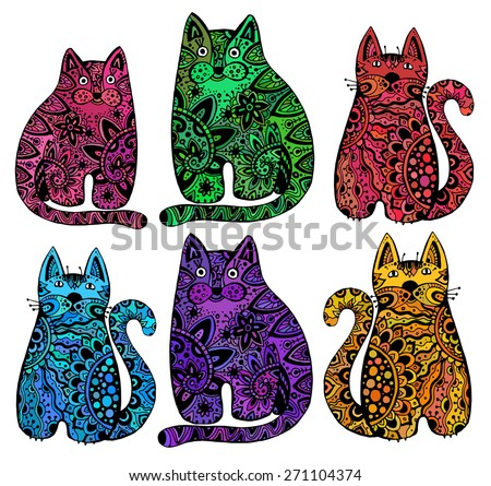 Vector Funny Cats With Floral Ornament