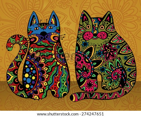 vector funny cats with floral