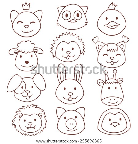 vector funny cute animals faces