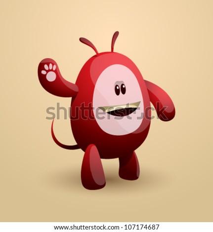 Vector funny egg monster 03