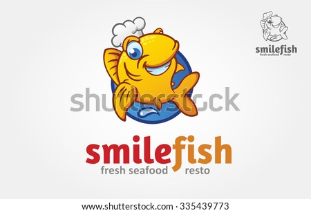vector funny golden fish with a