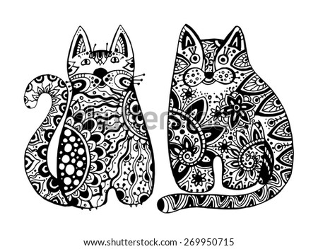 Vector Funny Graphic Cats With Floral Ornament In Tattoo Style