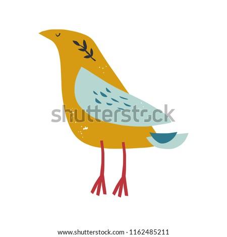 Vector funny hand drawn abstract bird ilustration, scandinavian style