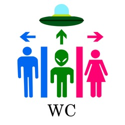 Vector funny icon for toilet with alien
