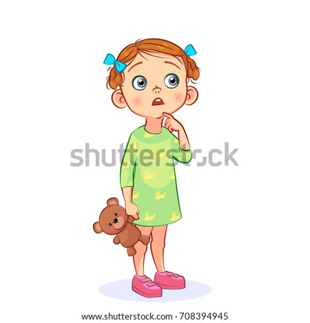 Vector funny little girl with big eyes. Sweet girl with a teddy bear in her hand opened her mouth in surprise and raised her index finger. Cutout children's art.