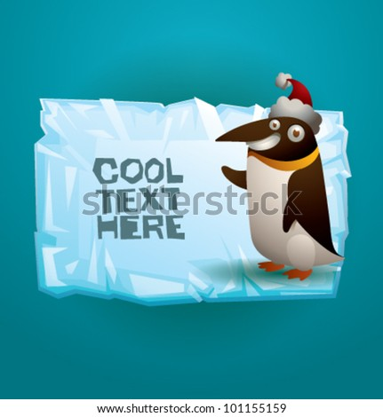 vector funny penguin on ice banner 3