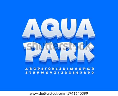 Vector funny sign Aqua Park. White playful Font. Comic style set of Alphabet Letters and Numbers ストックフォト ©
