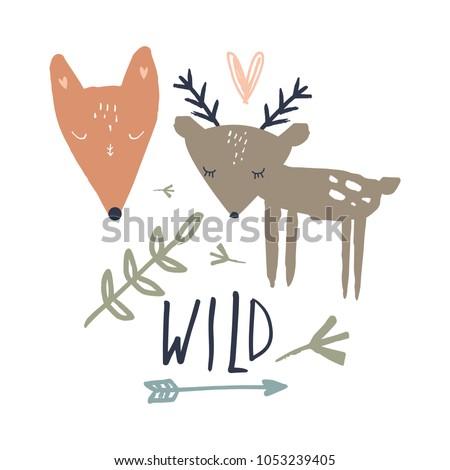 vector funny wild animals set