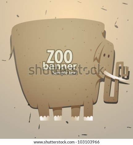 vector funny zoo banner, elephant