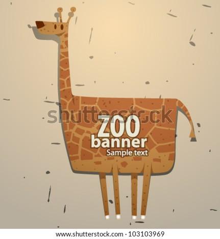 vector funny zoo banner, giraffe - stock vector